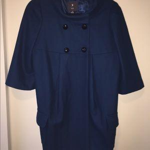 Forever 21 Blue 3/4 Sleeve Pea Coat